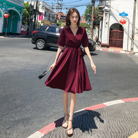 2019 summer clothes solid color bohemian sexy halter strap red was thin dress