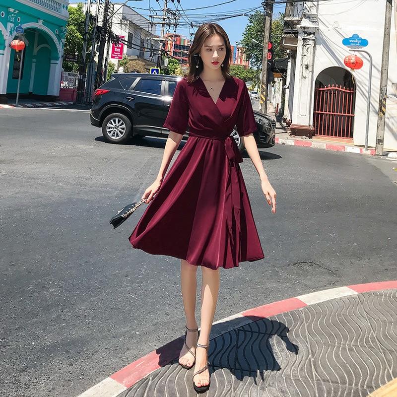 2019 roupas de verão cor sólida bohemian sexy cinta da cabeçada vermelha foi vestido fino