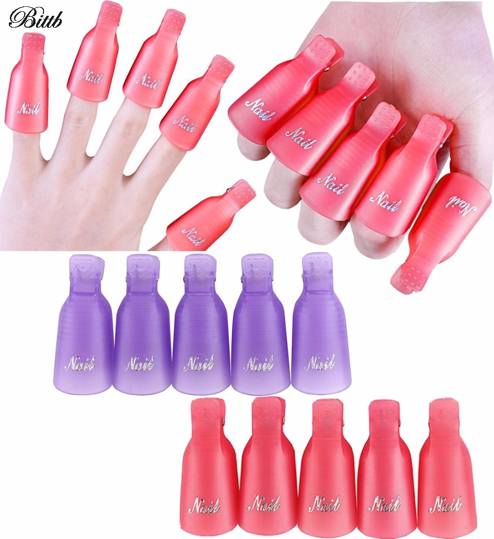 Bittb 10pcs Reusable Gel Nail Polish Remover Wrap Art Soak Off Cap Clip Uv