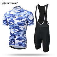 XINTOWN Quick Dry Short Sleeve Cycling Jersey Set S MTB Bike Clothing Summer Bicycle Jerseys Men Maillot Ropa Ciclismo