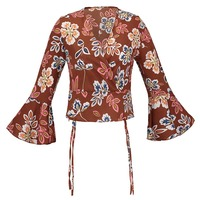 Queenus Bohemian Blouse 2018 Spring Summer Khaki Printed Color Block Long Flare Sleeve Red V Neck