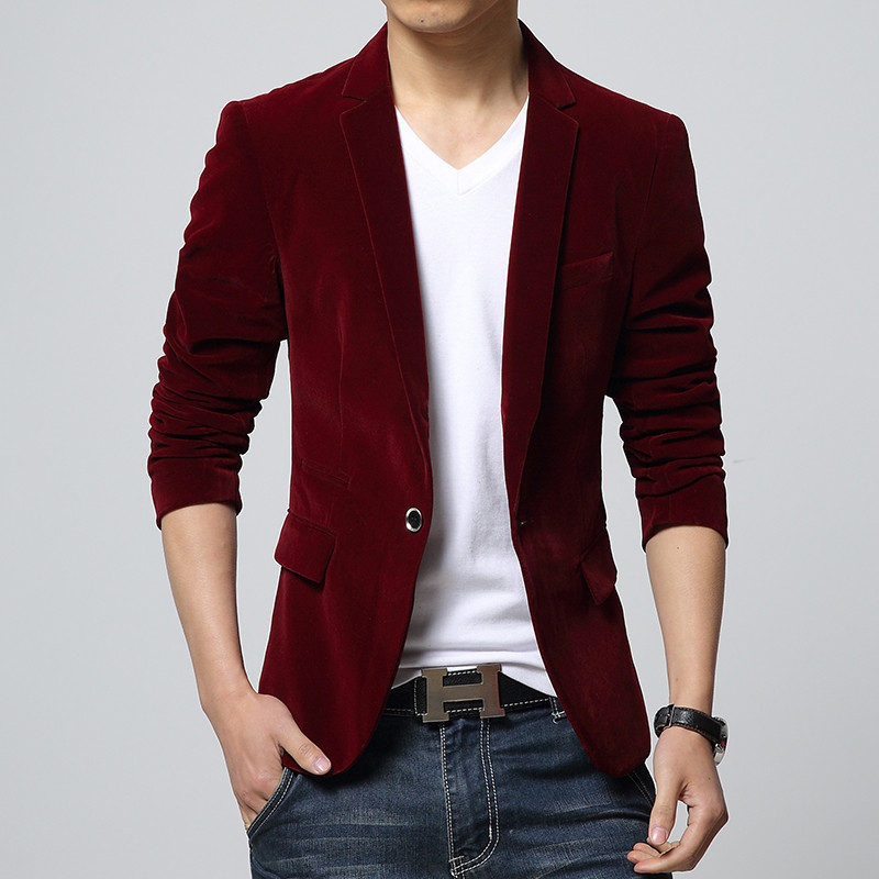 Top Men Winter Autumn M-4XL Men Blazer Slim Fit Navy Red Black Colors Slim Fit Suit Men Black Velvet Blazer Free Shipping
