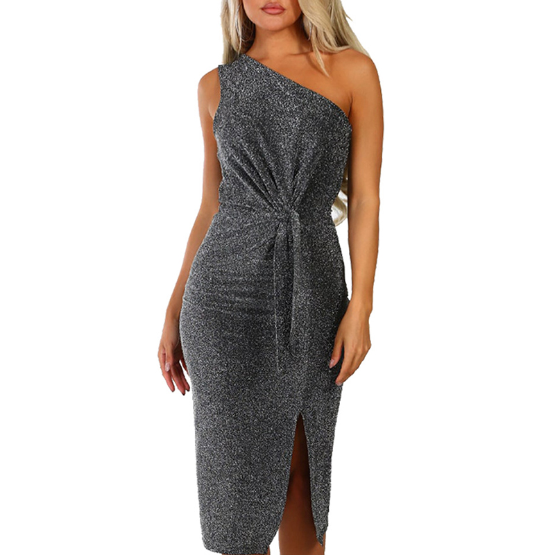 Adroit Women Glitter Sleeveless Party Bodycon Dress Sequined Elegant Strapless Sexy One Shoulder Summer Dresses Vestidos Sj1567v Fine Craftsmanship Women's Clothing