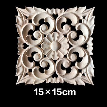 5PCS Vintage Wood Carved Corner Onlay Applique Frame Furniture Wall Unpainted for Home Cabinet Door Decoration Crafts15CM