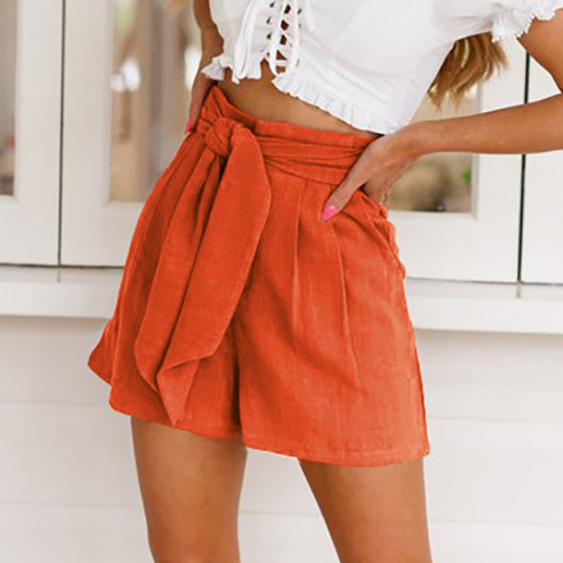 Plus Size 2020 Summer Womens Shorts Casual High Waist Solid Color Slim Shorts 2 Colors Belt Shorts For Women