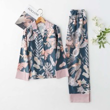 Satin Pajamas Sleepwear Spring Home Clothes Classical Magpie-Printing 2-Suits Thin Turn-Down-Collar