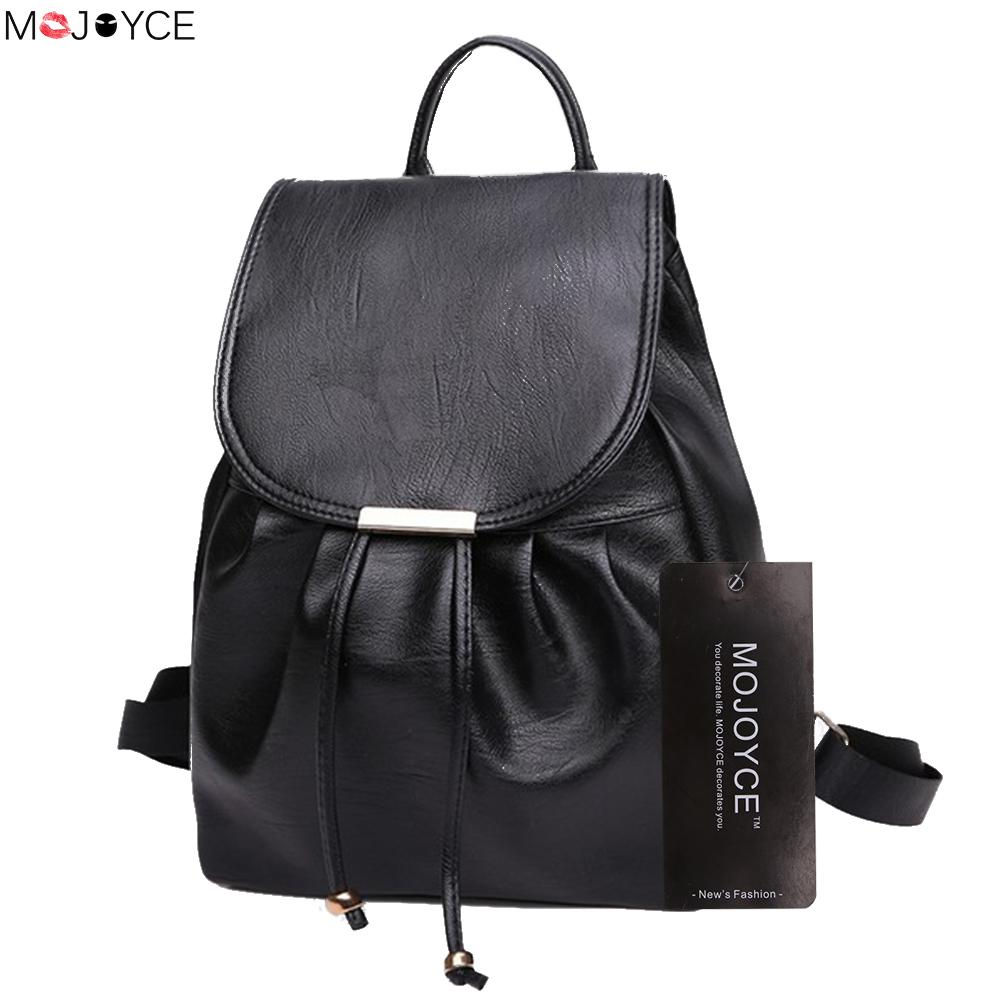 2018 Wholesale Classic Women PU Leather Backpack Female Casual Drawstring Travel Rucksack Teenager Girls Simple School Bag Black women s classic backpack