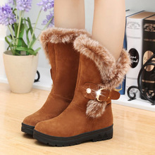2018 Winter Boots Women Fur Boots Mid-Calf Plush Snow Boots Shoes Woman Slip-on Fashion Metal Decoration Solid Plus Size 36-41 trendy women s mid calf boots with solid color and metal rivets design