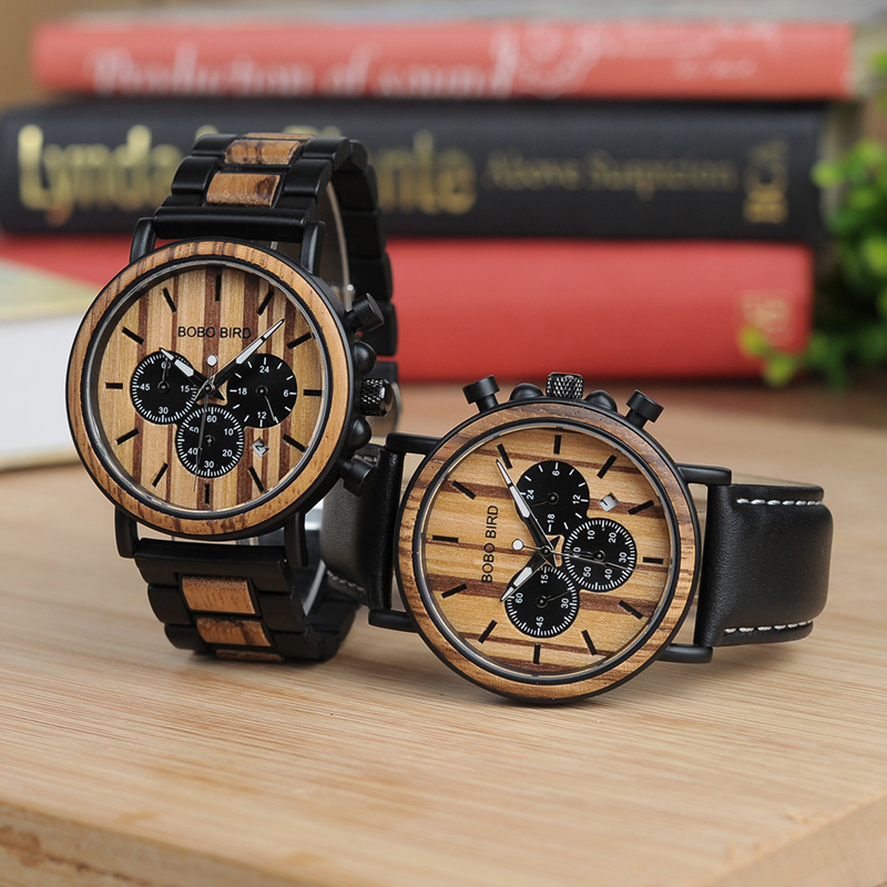 BOBO BIRD P09 Wood and Stainless Steel Watches Mens Chronograph Wristwatches Luminous Hands Stop Watch dropshipping 1