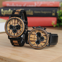 BOBO BIRD P09 Wood and Stainless Steel Watches Mens Chronograph Wristwatches Luminous Hands Stop Watch dropshipping