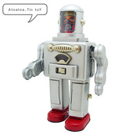 Vintage Retro Collection Tin toys Children Metal Wind up Auto Space Robot Handmade Iron Mechanical Astro Boy Electric astronaut