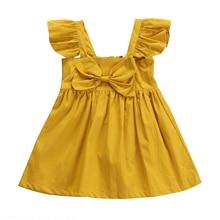 2017 Toddler Kids Girls Summer Dress Princess Baby Ruffles Sleeve Bow Tutu Party Dresses One Pieces Sundress Children Clothes
