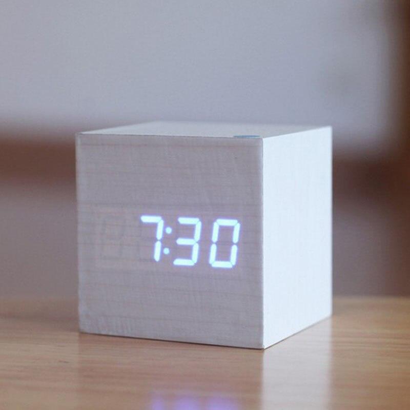 Creative Wooden Despertador LED Digital Display Table Clock Time Temperature Date Alarm Clock Brief Home Decorations Friend Gift