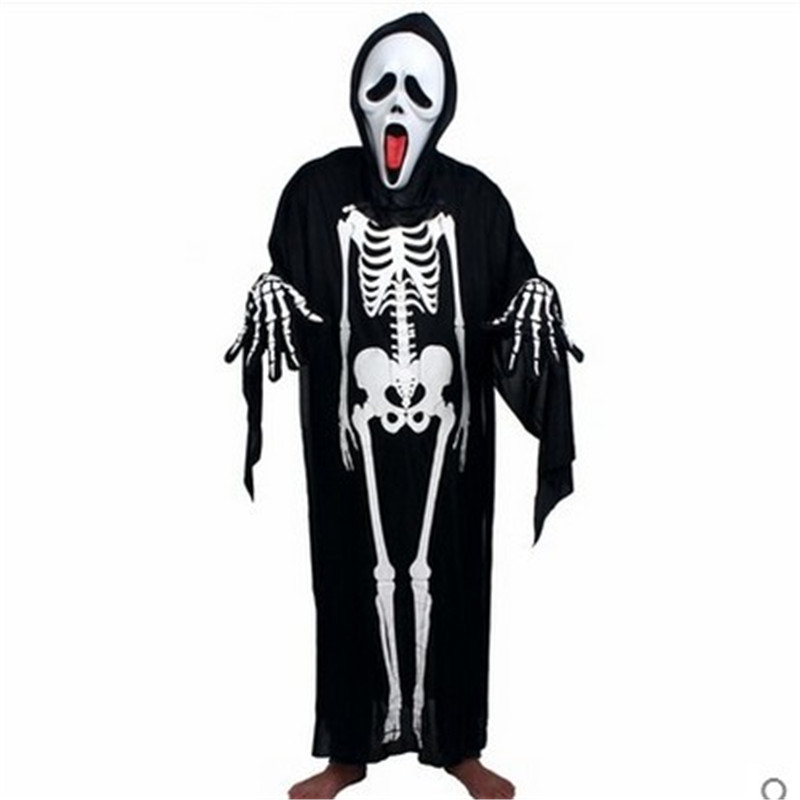 aliexpresscom buy 2017 one set devil skull skeleton costume cloak halloween costumes for kids women men halloween clothes cytoskeleton cosplay from - Skeleton Halloween Costume For Kids