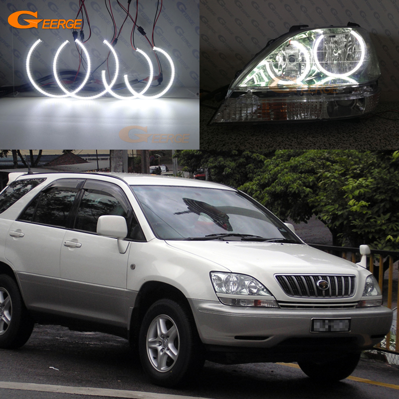 For Toyota Harrier 1997 1998 1999 2000 2001 2002 2003 headlight Excellent Ultra bright smd led Angel Eyes kit halo rings for alfa romeo 147 2000 2001 2002 2003 2004 halogen headlight excellent ultra bright illumination ccfl angel eyes kit halo ring