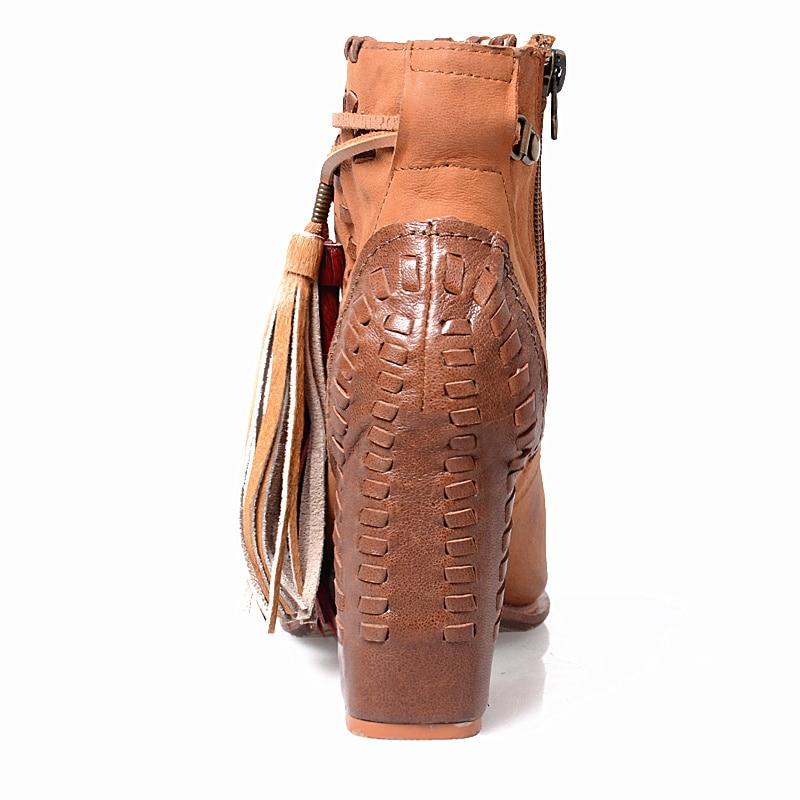 Patchwork Toe Flecos Diseño Cuero Estilo Mujer Genuino Prova Tacón De Perfetto Costura Light Botas Peep Alto Brown Sandalias Zapatos Grueso Elegante qxPW6gF