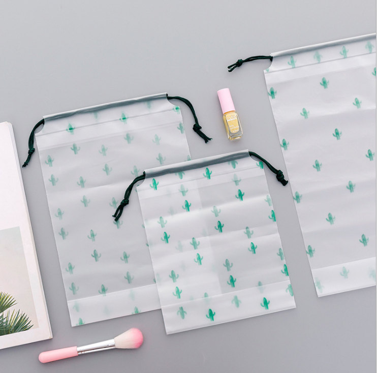 Cosmetic-Bag Makeup-Case Storage-Pouch Bath-Organizer Toiletry Cactus Drawstring Transparent