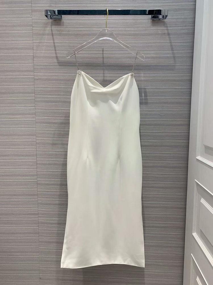 2019 fashion women spaghetti strap diamonds dress 2colors at190167
