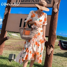 цены на Ubei Tulip print dress women summer high waist belt irregular flounce dress fashion V-neck chiffon dress  в интернет-магазинах