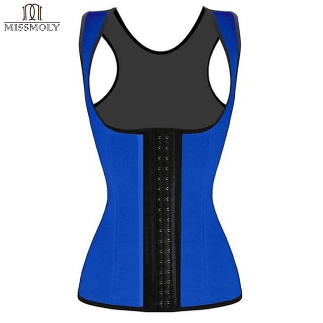 Miss Moly Vest Latex waist  corset Steel Boned Underbust Corsets Body Shapewear Bustier cincher corselet Black Blue