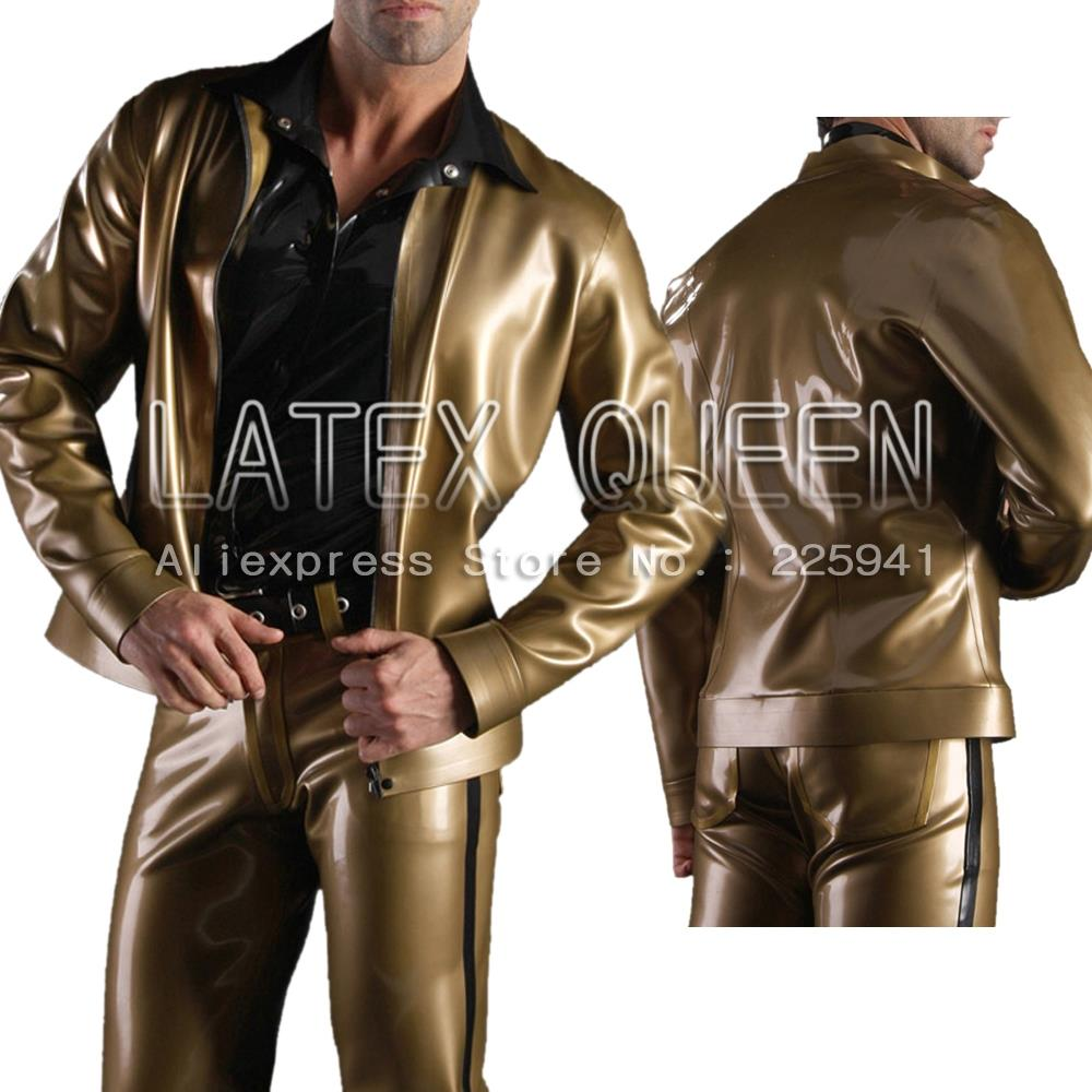 Herren Latex Gummijacken Oberbekleidung Metallic Gold