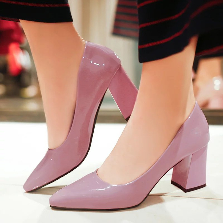 2019 New Brand Women Pumps Low Heels Shoes Woman Party Wedding Dress Pumps Ladies Shoes Pointed Toe Slip On Middle Heels Shoes
