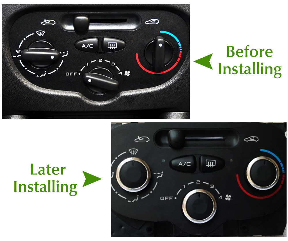Image 3 - Switch Knobs Heater Climate Control Buttons Dials Heat Frame Ring Air Con Cover For Peugeot 206 207 For Citroen C2-in Car Stickers from Automobiles & Motorcycles