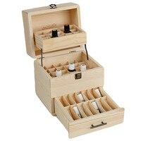 Essential Oils Wooden Box Aromatherapy Bottles Storage Case Organizer Container