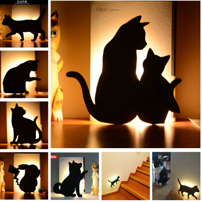 Cat Wall LED Lamp Motion Sensor Control Smart Sound Light Night Light Auto Home Corridor Balcony Baby Kids Cute Sleep Lamp