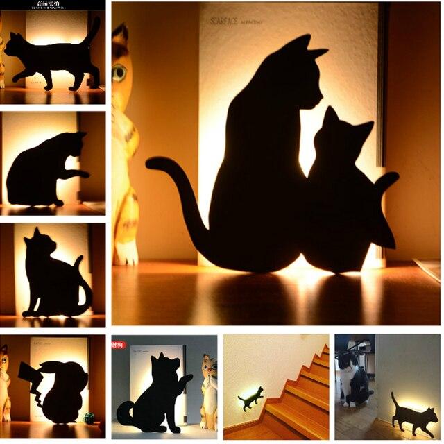 Cat Wall LED Lamp Motion Sensor Control Smart Sound Light Night Light Auto Home Corridor Balcony Baby Kids Cute Sleep Lamp