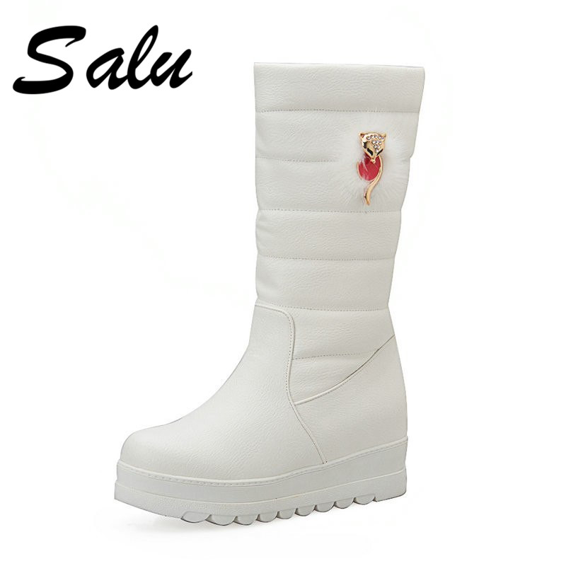 Salu New arrival 2018 warm Snow boots mid calf boots waterproof plush female shoes women winter White boots plus size 11 42 43 winter women snow boots warm plush shoes cross tied mid calf flat platform boots female buckle fashion plus size shoes abt1077