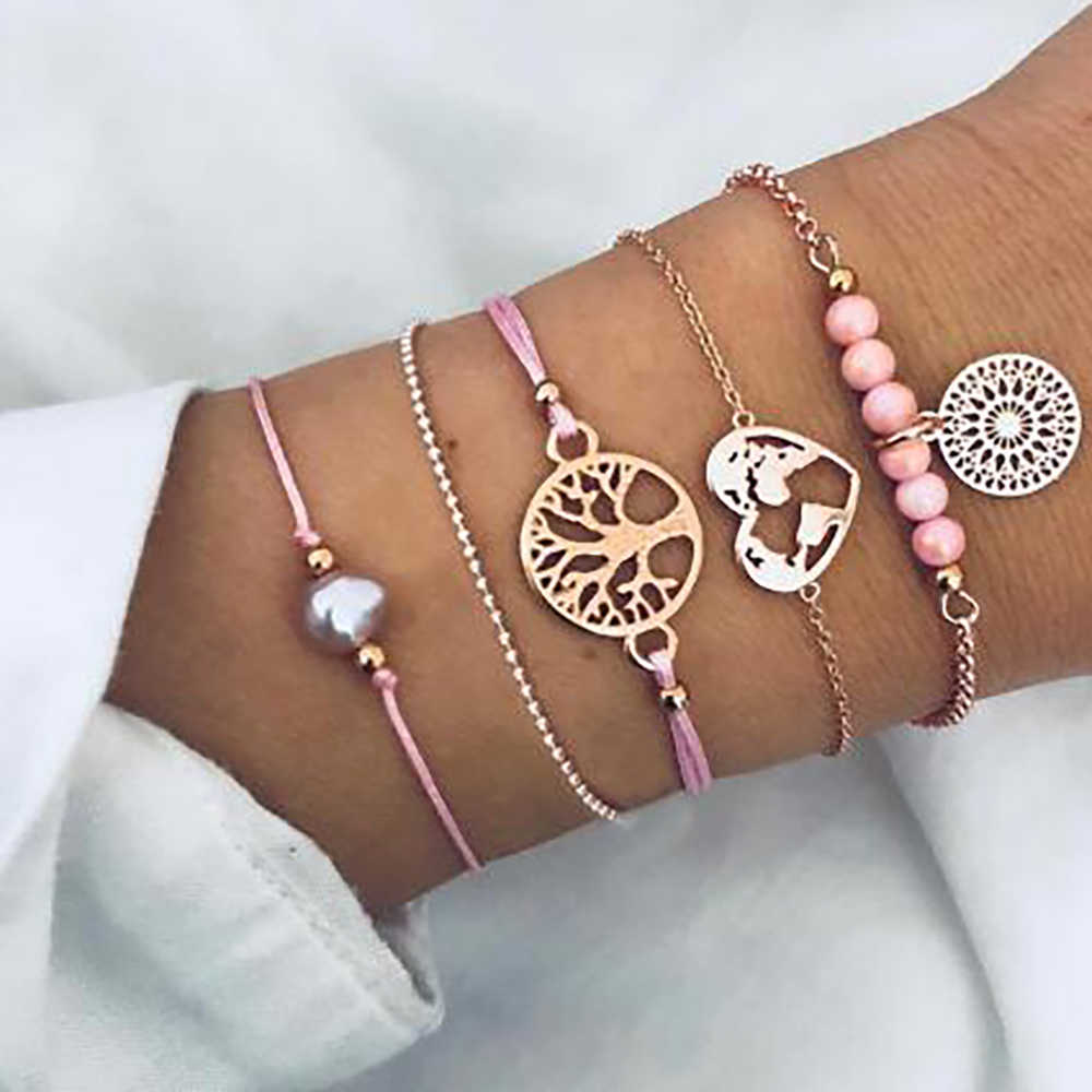 Bohemian Charms Bracelets Sets For Women Girl Pearl Heart Tree of Life Beads Bracelets & Bangles Boho Jewelry Fashion 2019 Gifts