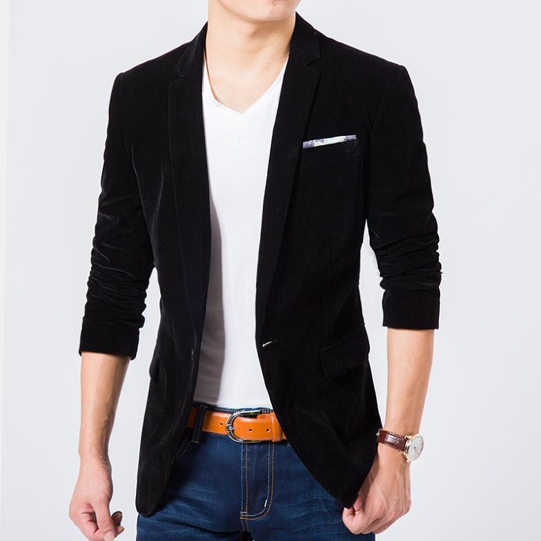 80411b2be Mens blazer traje chaqueta de la moda coreana de alta calidad de terciopelo  azul chaqueta Masculina chaqueta ocasional de un solo pecho más tamaño 6XL  en ...
