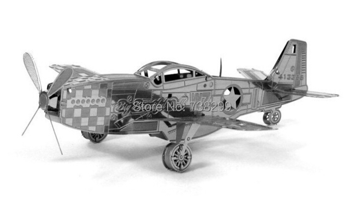 Mustang Fighter Miniature 3D Metal Model Puzzle 3D Model Building Kits Puzzle 3D Solid Jigsaw Puzzle