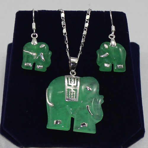 แฟชั่นเครื่องประดับออกแบบใหม่สีเขียว jades ช้างต่างหูและจี้