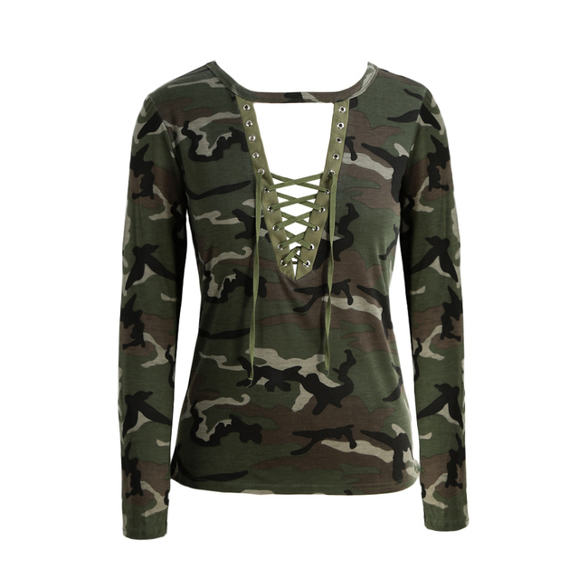2017 Camisetas Mujer Fashion Women Camouflage Long Sleeve T-Shirt Lace Up Neck Cross Printed Sexy Slim T-Shirt Tops Army Green