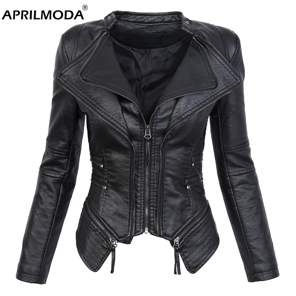 Haus & Garten 2019 Balck Faux Leder Jacke Für Frauen O Neck Long Sleeve Zipper Waschbar Leder Jacken Weibliche Biker Motorrad Jacke Frau