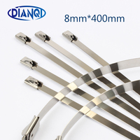 High Quality 100pcs 8mmx400mm Self-Locking Stainless Steel Zip Cable Tie Lock Tie Wrap