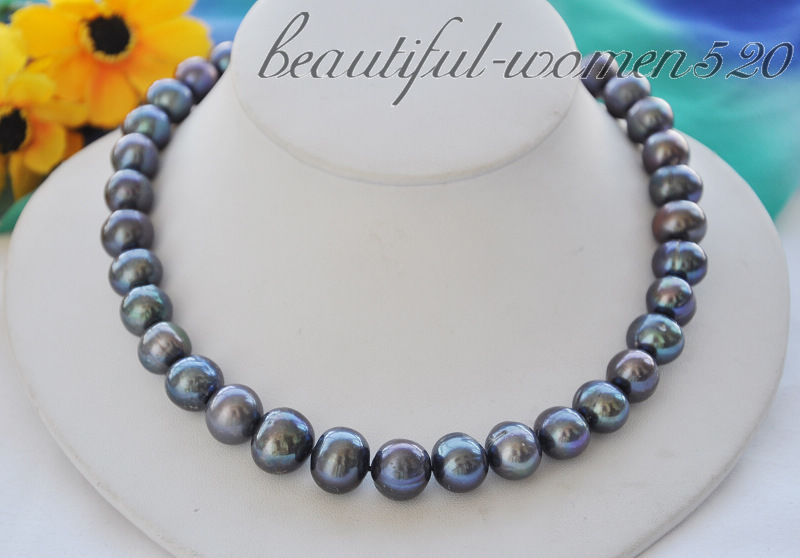 Z4909 Big 15mm black round Freshwater cultured pearl necklace 17inchZ4909 Big 15mm black round Freshwater cultured pearl necklace 17inch