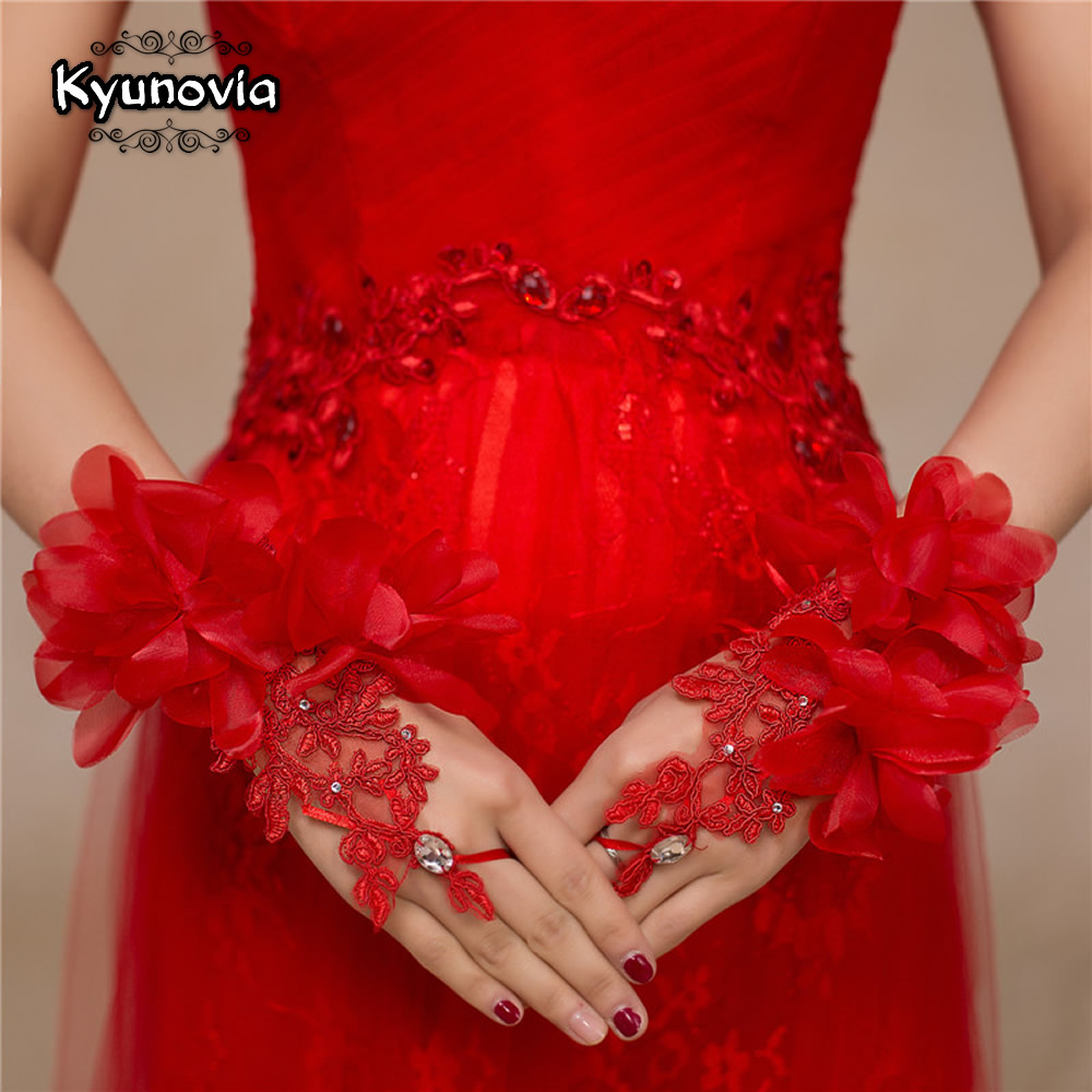 Kyunovia New Style Elegant Red White Evening Prom Accessories Gloves Short Design Flower Decoration Wedding Bridal Gloves D79
