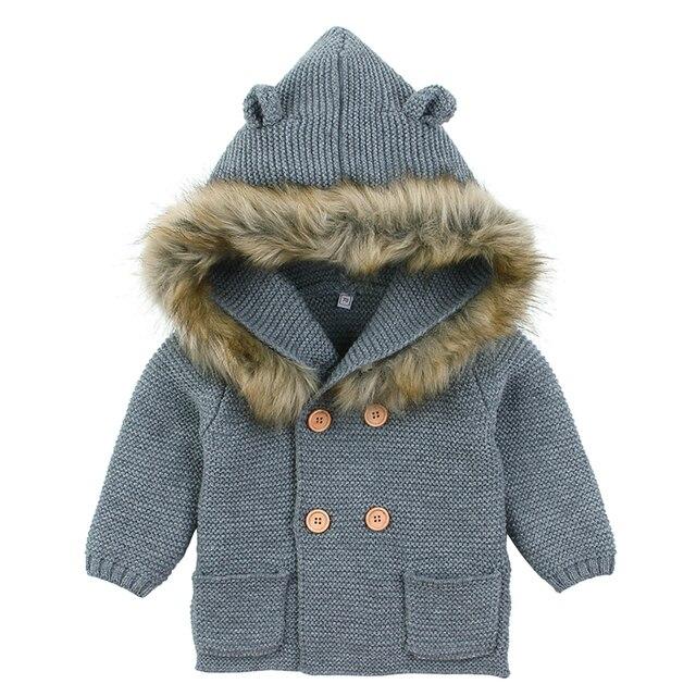 Baby Boys Girls Knit Cardigan Winter Warm Newborn Infant Sweaters Fashion Long Sleeve Hooded Coat Jacket Kids Clothing Outfits 4