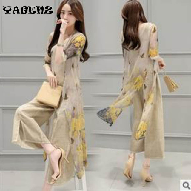 35b8208a56 2019 Summer Women Wide leg pants set Fashion Chiffon Three-piece Sets  Cotton Linen Pants Suit Women Printed Wide leg pants set
