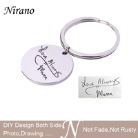 Nirano Personalized Stainless Steel Discs Keychains Unqiet Gifts Child Drawing Photo Handwriting Symbol Logo