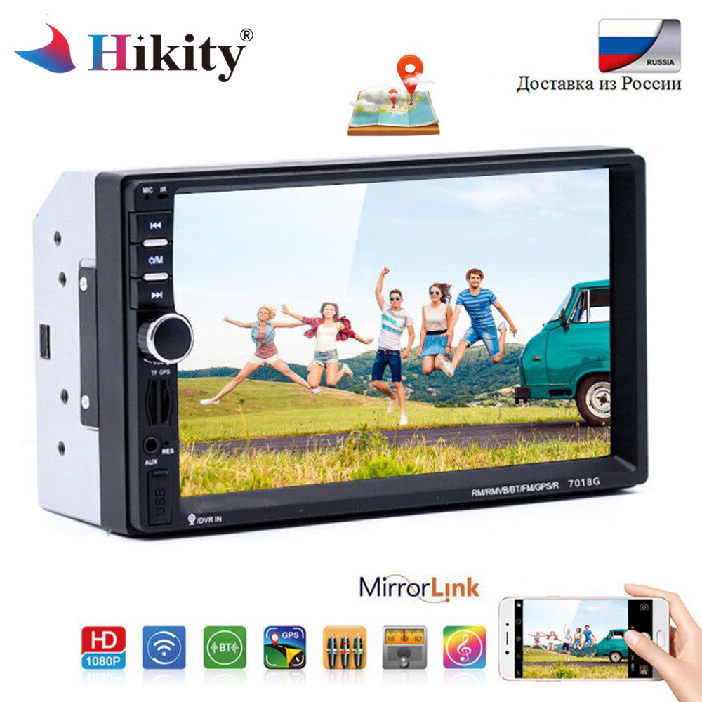 Hikity 2 Din 7 HD Car Multimedia Player Touch Screen Car Radio Audio Stereo Bluetooth Auto radio Player With Rear View Camera isudar car multimedia player gps 2 din car radio audio auto for ford mondeo focus transit c max bluetooth auto rear view camera