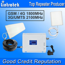 Lintratek 3G GSM 4G Repetidor de Señal 4G LTE GSM 1800 3G UMTS 2100 Mhz LCD Antena Amplificador Amplificador de Señal de Teléfono Móvil Kit Completo *