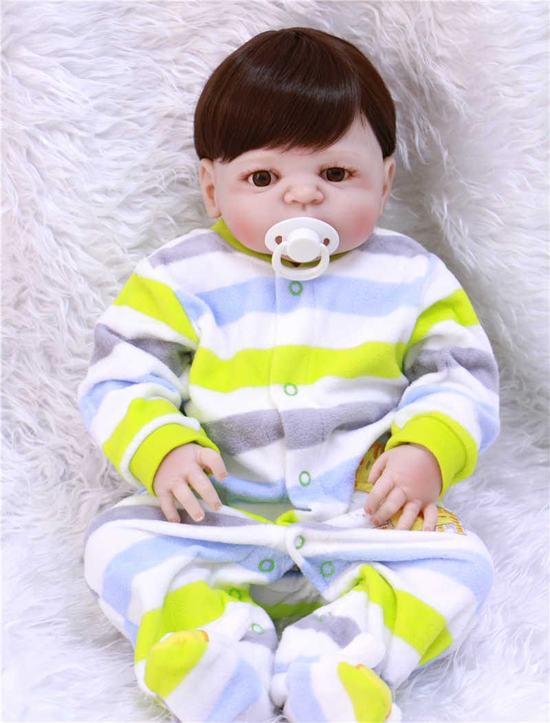 55 см Кукла-младенец с синими/коричневыми глазами кукла новорождённого силикона кукла в полоску Одежда для детей как игрушки для DIY bjd