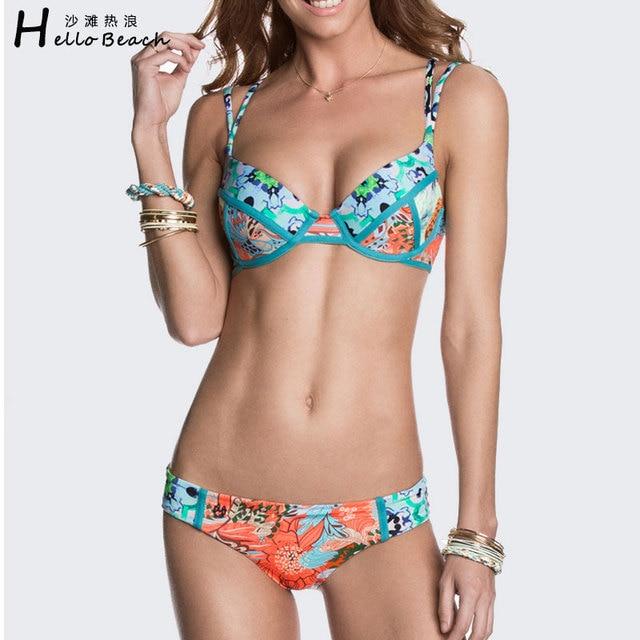 eafe396389 HELLO BEACH Hot Print Swimwear Women Pad Swimsuit Push Up Bikinis Woman  2017 Sexy Bathing Suit