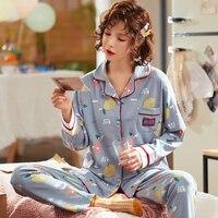 BZEL Long Sleeve Pajamas Sets Cotton Sleepwear Cartoon Nightwear Turn down Collar Sleep Lounge Lingerie Underwear Pyjamas Women