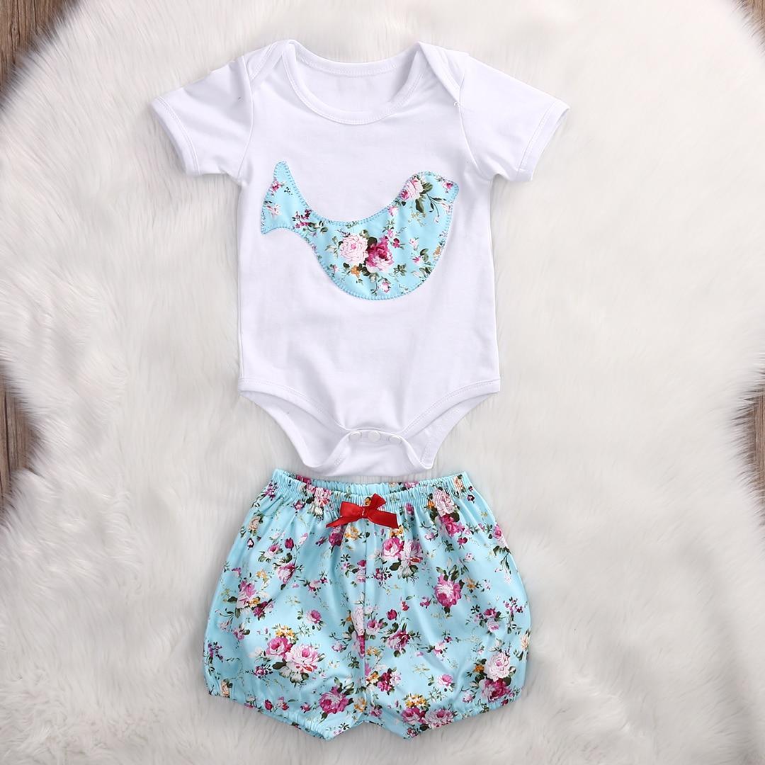 2pcs Set Infant Baby Boy Girl Clothes Summer Short Sleeve Cartoon Flower Bird Cotton Romper Jumpsuit+Short Pants Baby Outfit