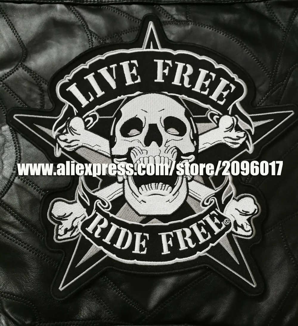 Grand crâne de broderie patchs gratuits en direct badges de motard pour veste gilet vêtement vêtements couture sur RIDE patchs gratuits appliques